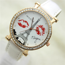 LZ Jewelry Hut DK016 2014 New Fashion 6 Colors Cusual Rhinestone Kiss And Eiffel Tower Women Dress Watches