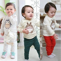 Classic Anime Totoro Penguin Baby Pajama Unisex Autumn Winter Thick Kids Clothing Sets Sleepwear & Robe Pajama Sets 3Sets/lot
