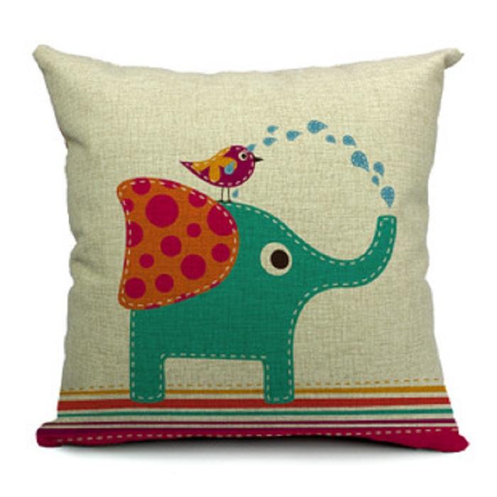 jogar 45x45cm lençóis de algodão capa de almofada fronha serapilheira pouco elefante adorável cartoon caso almofada para decoração de casa(China (Mainland))