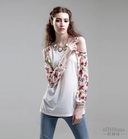 2014  Women's  new spring summer clothing round collar hollow out splicing chiffon unlined upper garment shirt