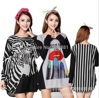 2014 New Winter Casual Striped Lips Leopard Print Big Plus Size Women Clothing Dresses for women Lady Tunic Top 3XXXL,4XL,5XL