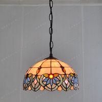 Free shipping 25CM European retro table lamp IKEA nostalgia chandelier Tiffany balcony kitchen color glass wholesale lighting