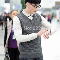 2014 Autumn Men's fashion high quality splashy sleeveless Sweater Casual V-neck sweater 100% Knitting cotton Free Shipping
