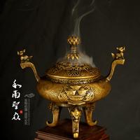 Supplies sandalwood furnace incense burner plate antique copper three-legged binaural gathergold incense furnace