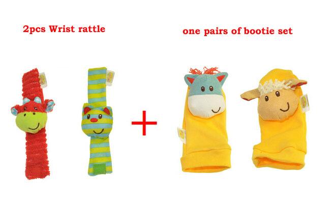 elc 4pcs/lot marca original pulso do bebê chocalho e bundinha definido brinquedo solf tuch(China (Mainland))