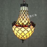 European Tiffany antique glass mesh chandelier SOHO bar Coffee hall retro bedroom stairs lighting lamps