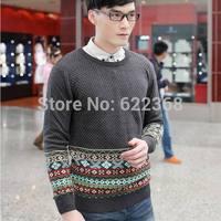 2014 Autumn Men's fashion high quality national style splashy Sweater Casual O-neck sweater 100% Knitting cotton Free Shipping