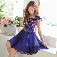 2014 small fresh one-piece dress female elegant print chiffon expansion skirt short skirt plus size clothing
