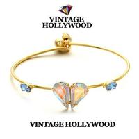 Wholesale Korean fashion brand rhinestone heart love gold plated cuff bracelets bangles for women