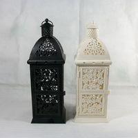 Wholesale 7255 iron Lantern Candle Mediterranean style hollow arc top wedding crafts