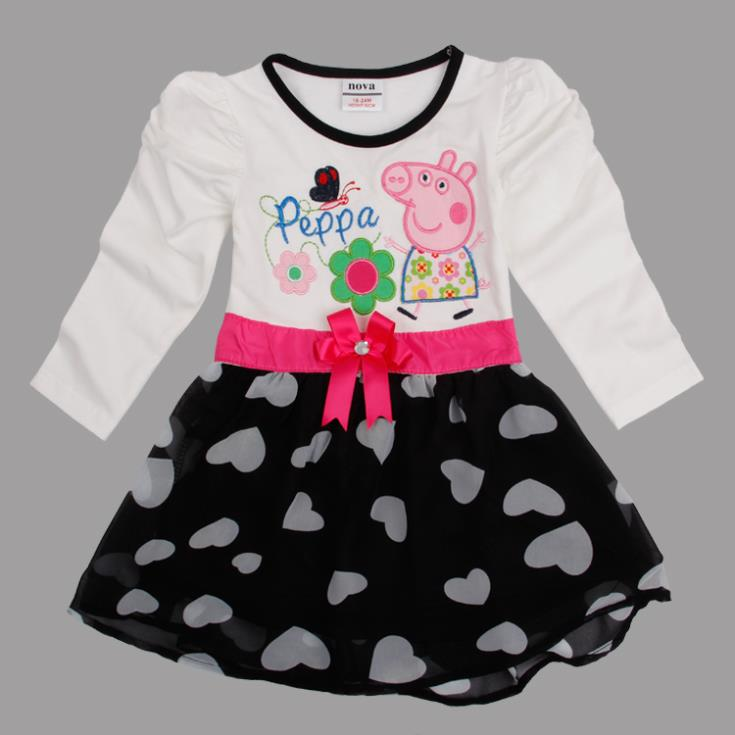 One Pcs!FREE SHIPPING baby girls dresses printed lovely peppa pig embroidery summer party dress baby girls cotton dress(China (Mainland))