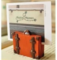 fashion vintage resin travel bag style message photo clip notes holder Card Holders