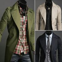 Men Korean version of the temperament sportsman men's double-breasted long coat 2014 free shipping