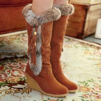 Women winter warm snow boots big sizes US 5-9.5 soft pu adhesive round toe slip-on 8cm wedge high heels shoesfor sale