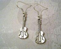 25pair ROCK GUITAR Tibetan Silver Earrings SP Rockabilly MUSIC 40MM LK671