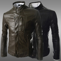 2014 New Arrival Autumn Winter Fashion Stand Collar Pu Leather Jackets Men Outwears Black Coffee Dropship Free Shipping