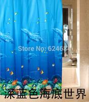 Free shipping High Quality bath shower curtain Polyester fashion Ocean Sea Life waterproof bathroom curtain 180*180cm blue