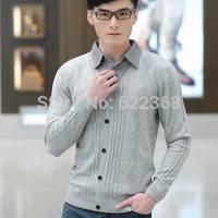 2014 Fashion high quality Men's Slim single Breasted Sweater Fashion Turn-down collar sweater 100% cotton Knitwear Free Shipping