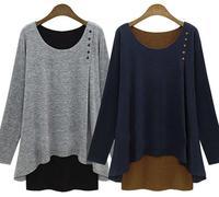 2014 plus size women clothing XXXXXL vestidos casual free shipping camisetas Long Casual Tee Shirts  woman's tops tshirt peplum