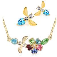 wholesale fashion Austria crystal 18k bee women pendant necklace/earrings twinset bride wedding Jewelry Sets