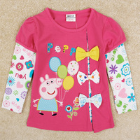 One Piece Retail Nova Kids Girl Peppa Pig Long Sleeve Girls T-shirts Pepa Pig Flowers Bow Fashion Children Clothes Drop Shipping