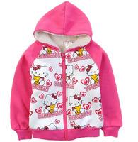 Children's outerwear 2014 autumn fashion girls long sleeve hoodies thick fleece Hello Kitty cartoon zipper sweatshirt fit 2Y-8Y