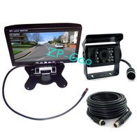 """4 Pin 7"""" LCD Monitor Car Rear view Kit + 18 LED IR CCD Reversing Camera Backup System Waterproof Free Shipping"""
