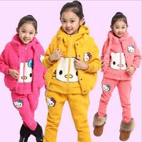 Autumn and winter children clothing set long sleeve thick fleece hoodies set kids hello kitty warm zipper sweatshirt 3 pcs suit
