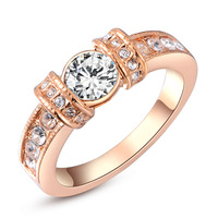 ROXI Christmas Gift Luxury Round Ring Genuine Austrian Crystals Rings Rose Gold Plated Jewelry Wedding Rings for Women