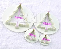 4x Exquisite Christmas Cedar Tree Mold Sugarcraft Cake Cutter Embossing Tools
