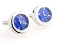WATCH MECHANICAL CUFFLINKS blue and white circle accustoming cuff links sleeve nail for men / women French cufflinks
