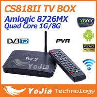 Original CS818 DVB-T2 Receiver Android Hybrid HD TV Box CS818ii Amlogic 8726 MX Dual Core 1GB/8GB XBMC Preinstalled Mini PC TV