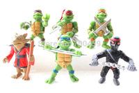 New version of the Teenage Mutant Ninja Turtles action figure TMNT 1 set of 6 dolls Free shipping