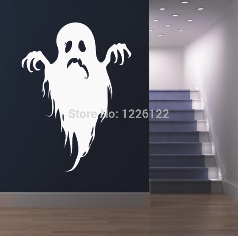 spook halloween decoratieve muurstickers aangebracht op het glas ...
