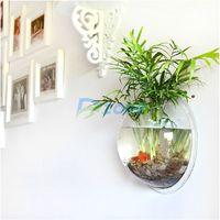Creative Wall Mounted Aquarium Fish Tank Hanging Bowl Plant Home Decoration S #57936