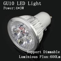 10PCS/Lot High quality 12W lampada led GU10 Spotlight lamp Warm White &White Free Shipping