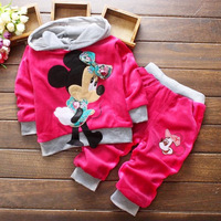 Newest Baby Girls Clothing Set  Mickey Mouse Hoodies and Pants New 2014 Clothing Sets for Girls 0-4 Years Kids Clothes Sets