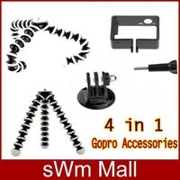 2014 New Go pro Accessories Flexible Mini Tripod+Camera Protect Border+Mount Adapter+ Screw For Gopro Hero 3+  Free Shipping