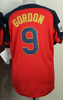 Cheap Sale,#9 Dee Gordon Men's Blue/Red 2014 All star baseball jersey,Embroidery/sewing Logos,wholesale