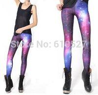 Women Latest Galaxy Printed Leggings Elasticity Leggins Cross Pants Purple Sizes Plus Size Space Universe Jeggings Free Shipping