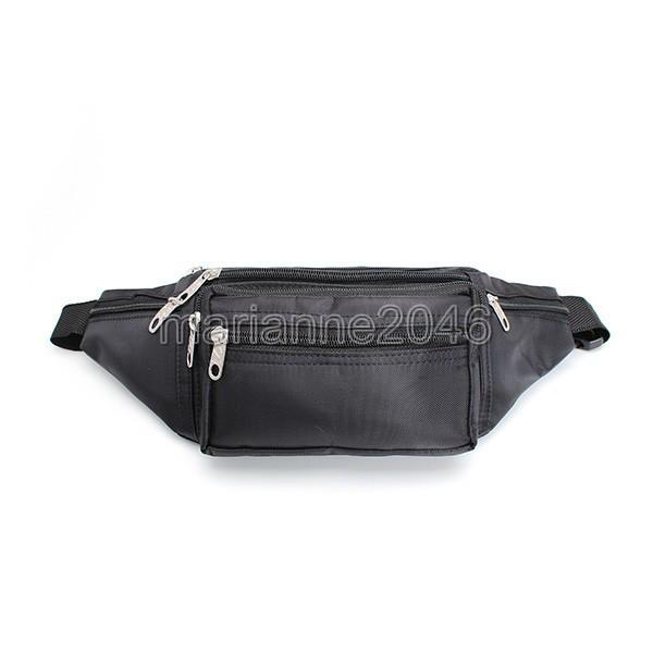 2014 New Men Boy Black Zipper Microfibre Bum Bag Fanny Pack Travel Money Waist Pocket Belt Bags(China (Mainland))