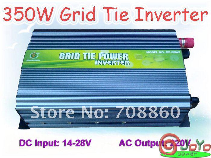 350W Grid Tie Inverter for Solar Panel 14V-28V DC(350 watt, 220V, High Efficiency, Free Shipping) factory hot sale!!(China (Mainland))