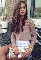 2014 new HOT!Women Lace Sleeve Chiffion Blouses Tops Emboriey Gorgeous Shirts long Sleeve embroidery Crochet Trim Blouse CS4289