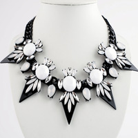 Fashion black flower triangle gem accessories necklace female accessories exaggerated necklace