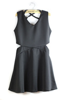 Summer female brief sexy V-neck cross lacing slim sleeveless one-piece dress