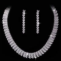 Italian modern blasting flash crystal earrings wedding necklace set