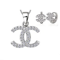 Top Quality Jewelry Set,925 Silver Necklace Earring Set,3 Layer Platinum Plated,Top Quality Austria Crystal Free Shipping OS33