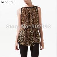 Black chiffon leopard print  chiffon shirt haoduoyi