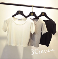 2014 o-neck short-sleeve slim solid color modal cotton short t-shirt design female top