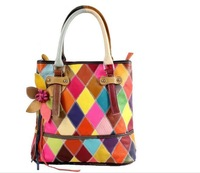 Hot!!100% Genuine Leather Bag Colorful Patchwork Shoulder Bags For Woman Fashion Flower Handbags Women Messenger bags tote 87070